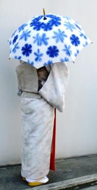 藤井絞日傘 持った図 青、水色花柄.JPG