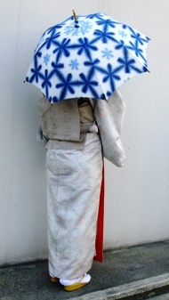 藤井絞日傘 持った図 青、薄水色花柄.JPG