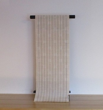 山下健 絹紙布八寸帯 白茶地縞 ¥432,000- .jpg